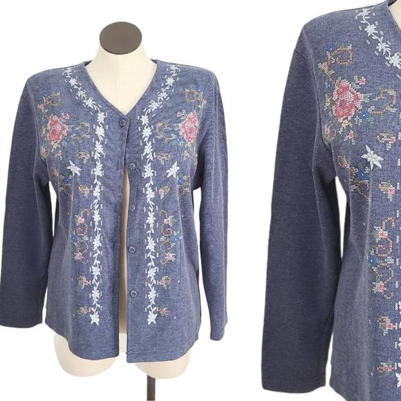 80- 90s Vintage Blue Floral Cottagecore Cardigan